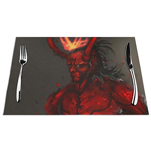VOROY Hell-Boy - Manteles individuales para decoración de mesa de comedor, cuadrados...