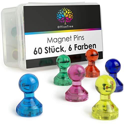 OfficeTree Neodym Magnet Pins - 60 kleine Magnete in 6 bunten Farben - Magnet Männchen als Blickfang etxra starke Haftung - bunte Magnete für Magnettafel, Kühlschrank oder Whiteboard