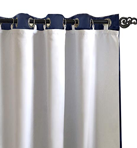 DriftAway Thermal Insulated 100 Percent Darkening Blackout Curtain Liner 2 Panels Each Liner Size 50 Inch by 80 Inch Rings Included Off White Panel