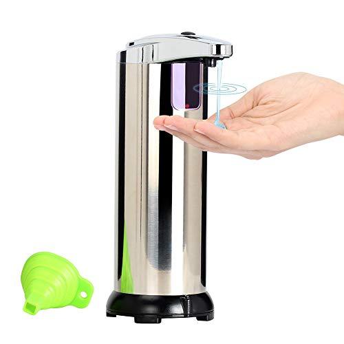 Queta Seifenspender Automatisch, Edelstahl Seifenspender, elektrischer Seifenspender mit EIN Silikontrichter, Infrarot Seifenspender mit Sensor für Küche und Bad, Silber 280ml