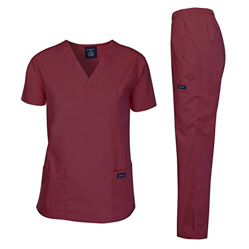 Dagacci Medical Uniform Woman and Man Scrub Set Unisex Medical Scrub Top and Pant, Burgundy, XS