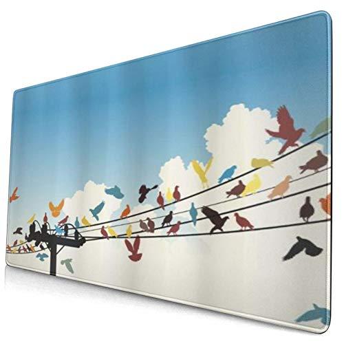COFEIYISI Alfombrilla de Ratón Gaming Siluetas con Temas de Animales de pájaros Coloridos posados en Cables de telégrafo Antideslizante para Gamers Oficina PC Portátil Ordenador