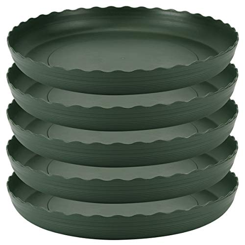 Plant Saucer 10 inch Drip Trays Dark Green Plastic Tray Saucers Indoor Outdoor Flower Pot Round (10 in x 5 Pack)