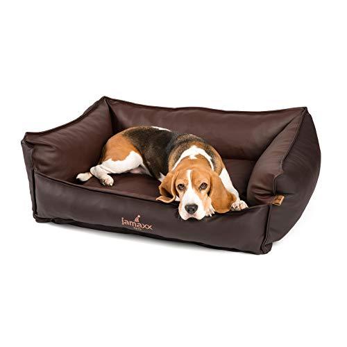 JAMAXX Premium Leder-Sofa Orthopädische Memory Visco Füllung, Hohe Seitenränder, Hunde-Couch mit Kunstleder Bezug, Reißverschluss, Hundebett PDB2019 (M) 90x70 braun+Brandy