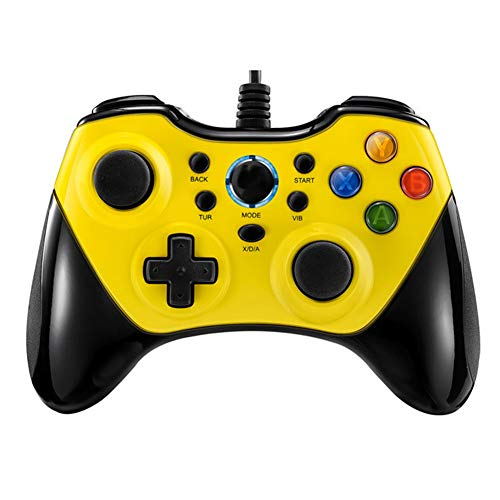 JIN Gamepad bedrade USB met vibrerende knop PC rocker spel joystick voor PC/Windows10/8/7/PS3 host/Android apparaat 4.0 systeem, Large, Geel