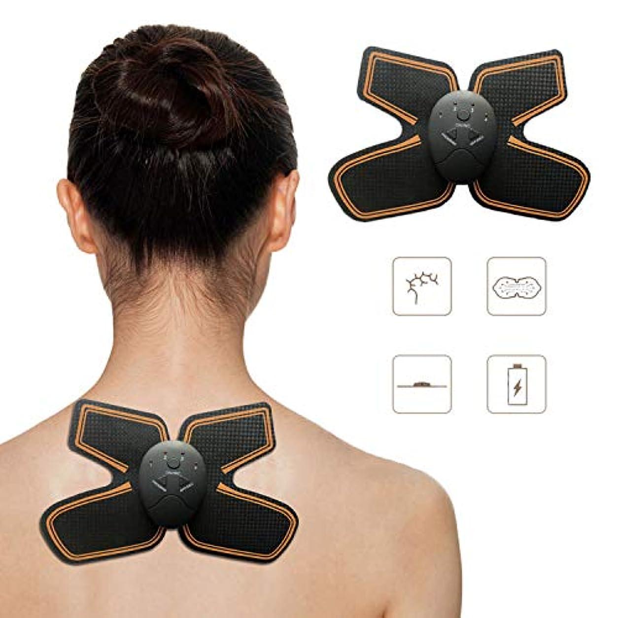 中にプラス伝導EMS 腹筋ベルト, ワイヤレス ポータブル ネックマッサージャー, 6つモード 10段階 筋肉トナー の 男性?女性 アーム 足