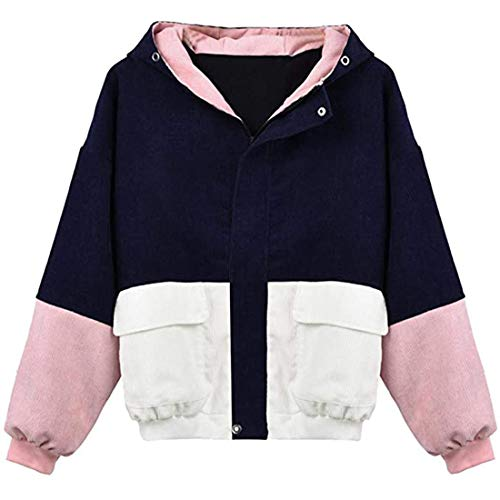 Hoodie Womens Casual Fashion Color Block Warm Hoodie Autumn and Winter New Women Hoodie Zipper Patchwork Transitional Jacket Thin Softshell Jacket with Pockets M