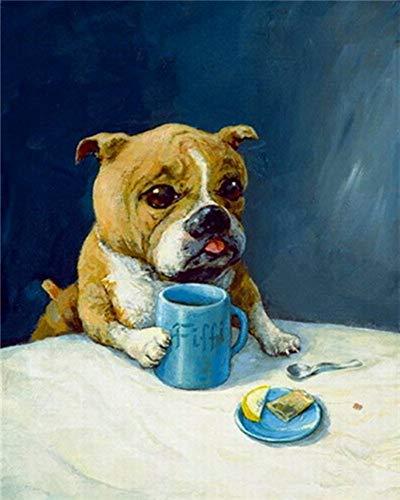 Preisvergleich Produktbild WOWDECOR DIY Malen nach Zahlen für Erwachsene Kinder Mädchen,  Süß Hund Kaffee Snack 40x50cm Vorgedruckt Leinwand-Ölgemälde (ohne Rahmen)