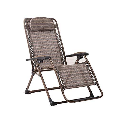 DSHUJC Tragbarer Klappstuhl mit Kopfstütze, Gartenbalkon, Sonnenliege, Büro-Lunch-Lounge-Stuhl, Outdoor-Camping-Strandkorb, Khaki, Last 200 kg