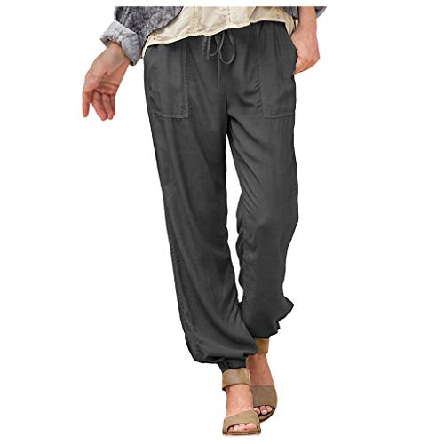 Pantalones Largos para Mujer Verano,Mujeres Dama Moda EláStico Cintura Bolsillo Pantalones Casuales