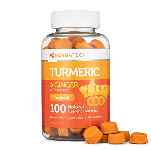 Turmeric Curcumin Gummies with Ginger Root (100 Count) Chewable Supplement for Adults and Kids - Anti-Inflammatory for Joint Support, Vegan Safe, Natural Flavors from HERBATECH