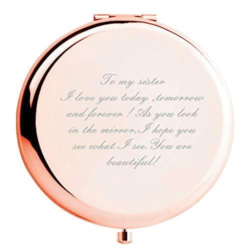 Running Duck Sister Gifts Ideas, from Sister Brother, Sisters Birthday Gift Mirror Rose Gold Compact Mirror Personal Makeup Mirror with Treasured Message