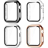 GEAK Compatible with Apple Watch Case 38mm, Apple Watch Screen Protector 38mm, Full Coverage Hard PC Bumper Protective Cover for iWatch SE Series 3/2/1 Women Men 4pack Black/Clear/Rose Gold/Silver