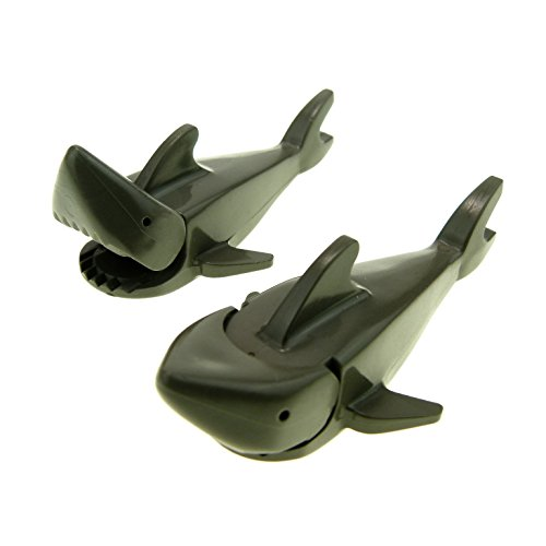 2 x Lego System Tier Hai Fisch alt-dunkel grau Hai Shark bewegliches Maul Pirat Piraten Schiff 2547c01