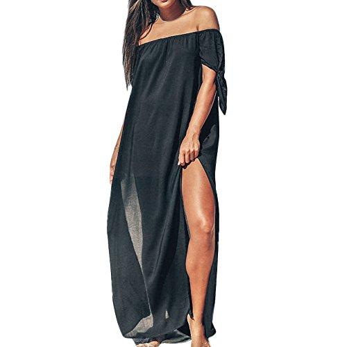 Battnot Damen Bikini Cover Ups Strandkleid Sommerkleid Sonnenschutz Schwarz XL Lange Maxi Abendkleid Bodenlangen, Frauen Schulterfrei Badeanzug Abdeckung Vertuschen Bademode Capes Abdeckung Beachwear