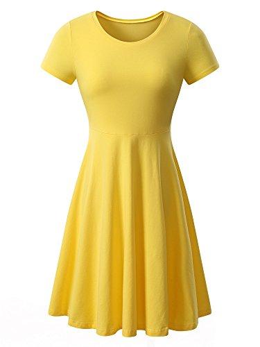 HUHOT Yellow Dress for Women Women Short Sleeve Round Neck Summer Casual Flared Midi Dress Medium Yellow