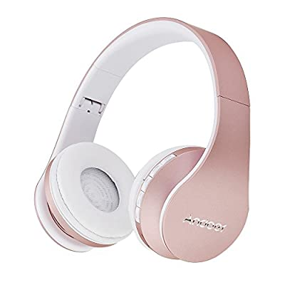 Andoer Wireless Bluetooth Over Ear Stereo Foldable Headphones, Wireless and Wired Mode Headsets with Soft Memory-Protein Earmuffs w/Mic for Mobile Phone PC Laptop(Rose Gold) from Andoer