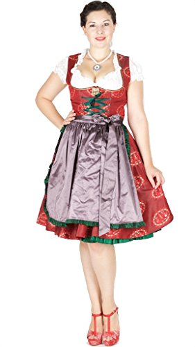 Lola Paltinger 15149 Dirndl MADL & Bua 60er länge rot Size 40