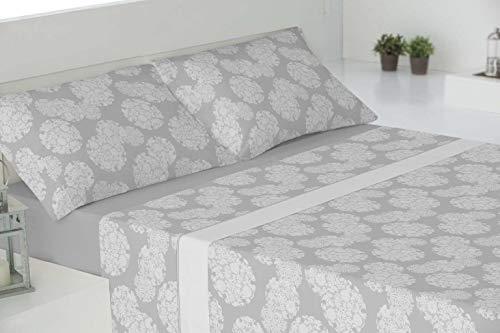 RAM'S sábanas de Invierno coralina Tacto sedalina- Luxury Soft-con Mayor Grosor y Calidad del Mercado (240 grs/m2),Ontario Gris. (para 150cm)