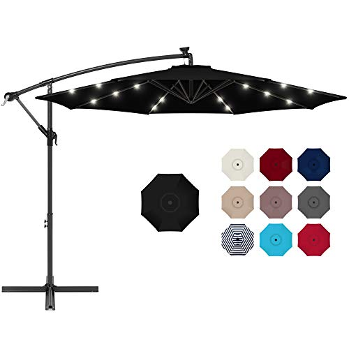 10ft Solar LED Offset Hanging Outdoor Market Patio Umbrella