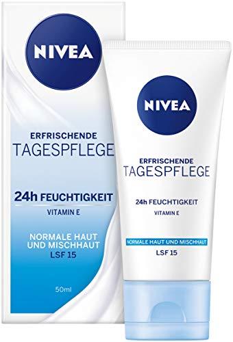 NIVEA Essentials Tagespflege 24h Feuchtigkeit + Frische im 4er Pack (4 x 50 ml), Feuchtigkeitscreme mit LSF 15, Tagescreme für normale & Mischhaut