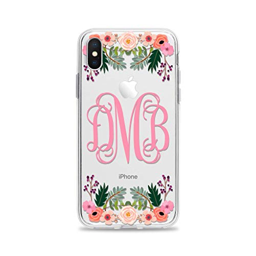 Amazon Com Monogram Cell Phone Case Cover Designed For Apple Iphone 11 Pro Max Xr Xs X 10s 10r 10 8 Plus 7 6s 6 Se 5s 5 Clear Transparent Rubber With Charming Floral Print Handmade
