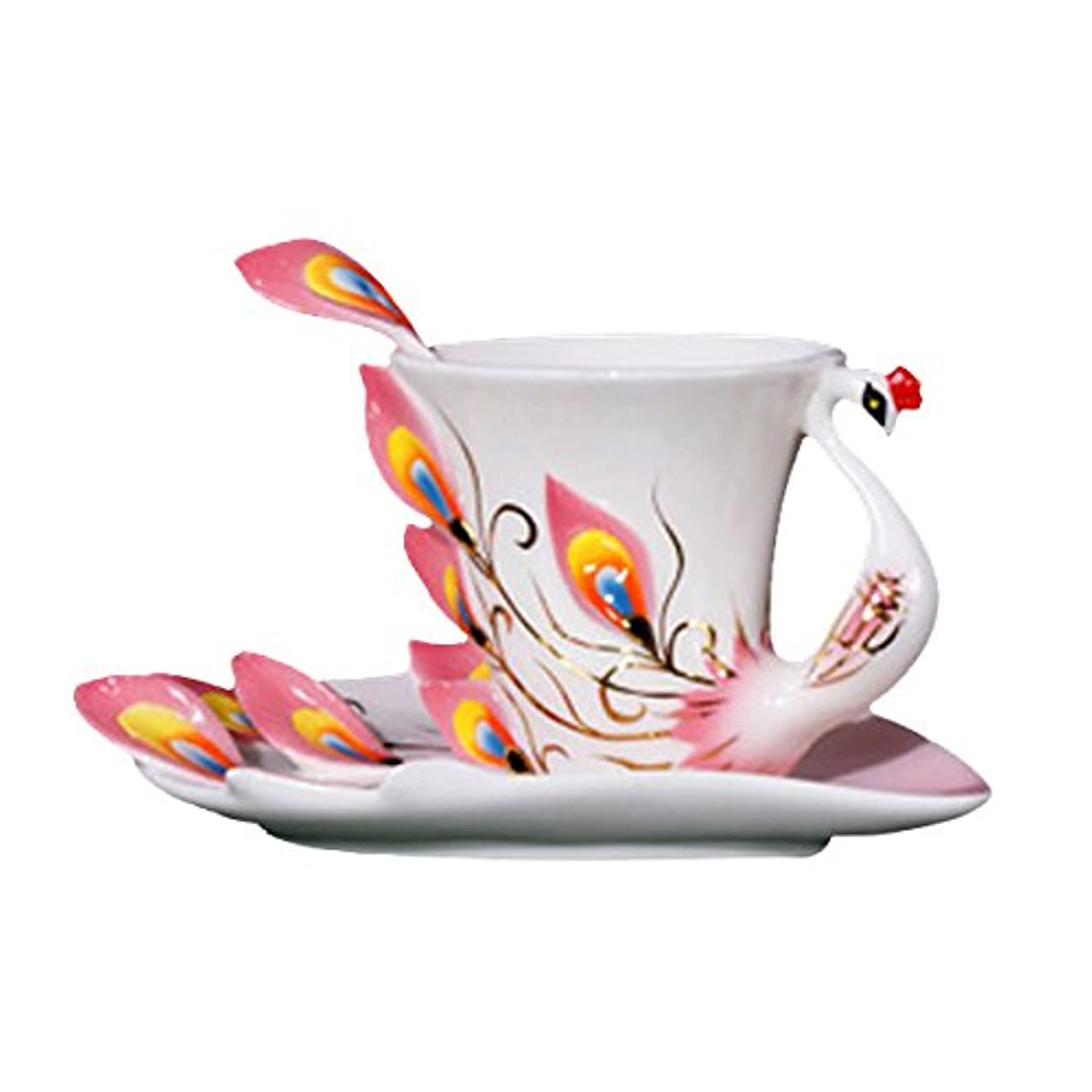 Choholete Porcelain Coffee Cup Set Gorgeous Peacock 1 Cup 1 Saucer 1 Spoon Pink