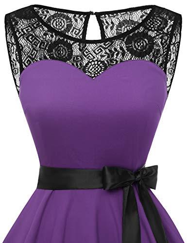 bbonlinedress 1950er Ärmellos Vintage Retro Spitzenkleid Rundhals Abendkleid Purple 3XL - 5