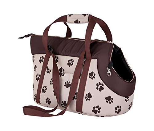 Hobbydog TORBWL4 Hundetasche Tragetasche Katzentasche, Größe 22 x 20 x 36 cm, beige mit Pfoten