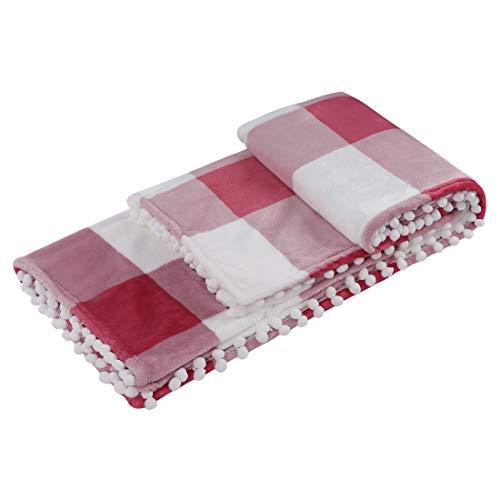 PiccoCasa Karierte Decke 130x150cm Tagesdecke Wohn- & Kuscheldecke Wolldecke mit Pompons als Sofadecke/Couchdecke Rot