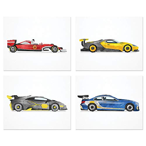 Nursery Race Car Wall Art Prints | Set of Four (10 inches x 8 inches) Watercolor Sports Car Decor | Lamborghini | Bugatti | Formula 1 | Racing| Vehicle Theme Gift | Set 1