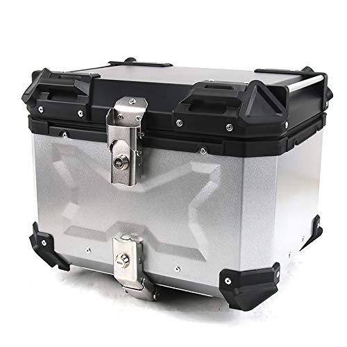 Universal Baúl de Moto Scooter Maleta Motocicleta Topcase 45L con Llaves y Accesorios,Plata