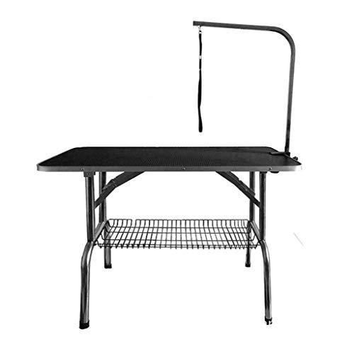 Pet Supplies Professional hond huisdier opvouwbaar verzorgingstafel, roestvrijstalen frame Een stabiele draagbare klaptafel zwart