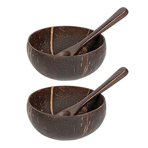 POHOVE - Set di 2 ciotole in noce di cocco naturale con cucchiai, ciotole in legno di noce di cocco, ciotola da portata Acai Buddha, per frullati vegani, per tagliatelle, riso e frutta, insalata