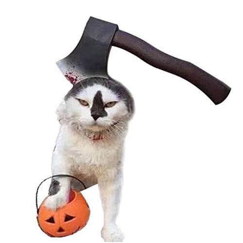 Redcolourful Pet Scary Headgear Proxy Prop voor Halloween honden katten bijl S