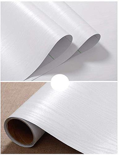 TJLMCORP- Mat Zwart Wit Graan Hout Getextureerde Contact Papier Vinyl Film Zelfklevende Behang Plank Liner Lade Liner Peel-Stick Aanrechtblad Sticker 23.6