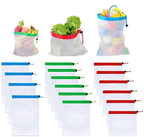 ANNA TOSANI 16 Piezas Bolsas Reutilizables Compra, Ecológicas Bolsa de Malla para Almacenamiento Fruta Verduras Juguetes Lavable y...