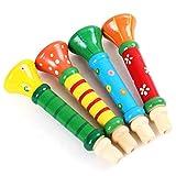 Sepikey 1Set Random Color Trumpet Instruments Toys Multi-Color Baby Kids Wooden Horn Music Toys for Kids Above 24 Months