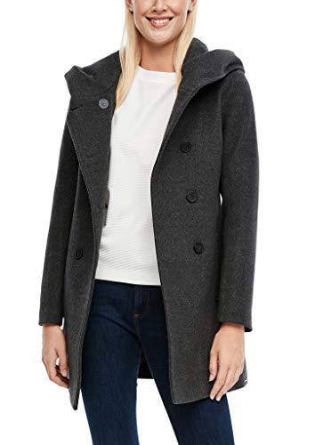 s.Oliver Damen Melierter Mantel aus Wollmix dark grey 38