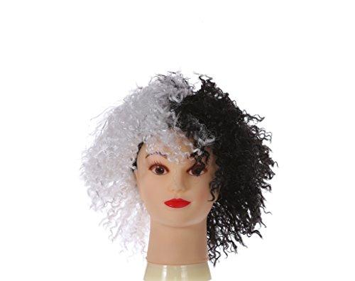 Dames Half Krullend Zwart en Half Wit Deluxe Evil Cruella Deville Mid Length Afro Pruik, Ideaal voor Halloween Fancy Jurk Pruik, One Size