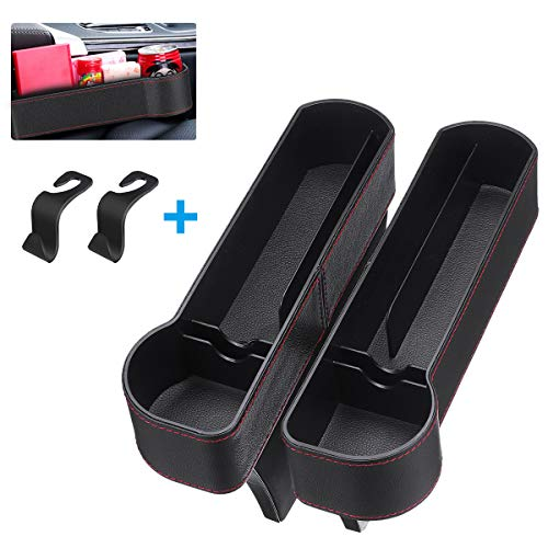 CAMTOA Car Seat Gap Filler, Car Seat Organizer, 2 Pack PU Car Seat Storage with Cup Holder, Seat Console Side Pocket for Cellphones, Keys, Cards, Wallets, Sunglasses(Driver Side &Co-Driver Side)