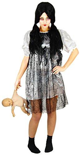 Foxxeo weißes Horror Puppen Kleid Halloween Kostüm für Damen Fasching Karneval Motto Party Größe XL