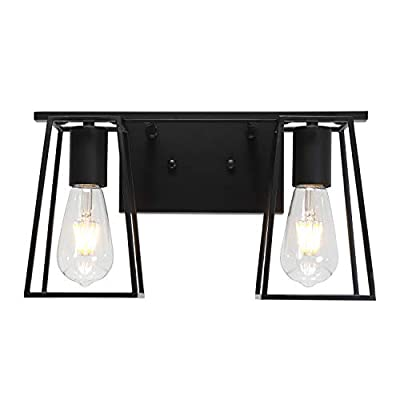 MELUCEE 2-Light Black Bathroom Light Fixtures Industrial Wall Sconces Vanity Lights with Open Metal Cage for for Bedroom Hallway Porch Stair