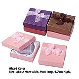12 Piezas Juego de Joyas de cartón Caja de Regalo Anillo Collar Pulseras Pendiente Cajas de Embalaje de Regalo con Esponja Rectángulo Interior - Mix-G 9x9x2.7cm