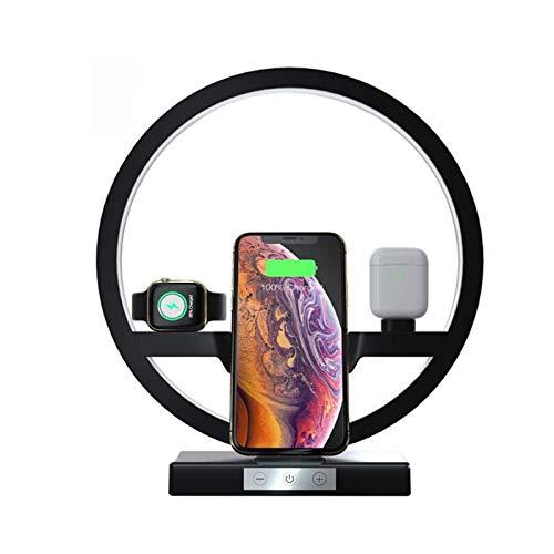 Cargador inalámbrico 3 en 1 con lámpara de escritorio, estación de carga inalámbrica Qi multifunción, base de carga para Apple Watch 6/5/4/3/2/1 / IPhone 12/12 Pro / 11/11 Pro / Xs / Xs Max / XR / X