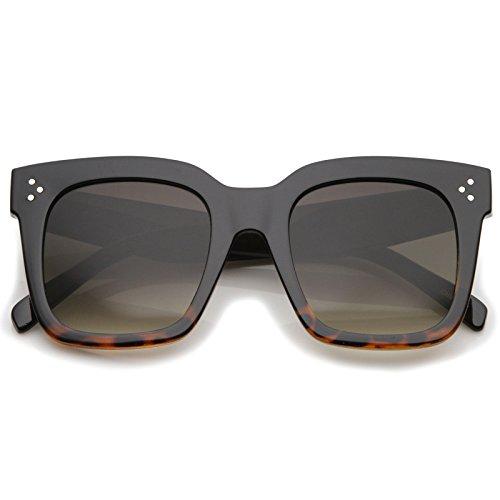 Bold Flat Lens Oversized Square Frame Horn Rimmed Sunglasses 50mm (Black-Tortoise Fade/Lavender)