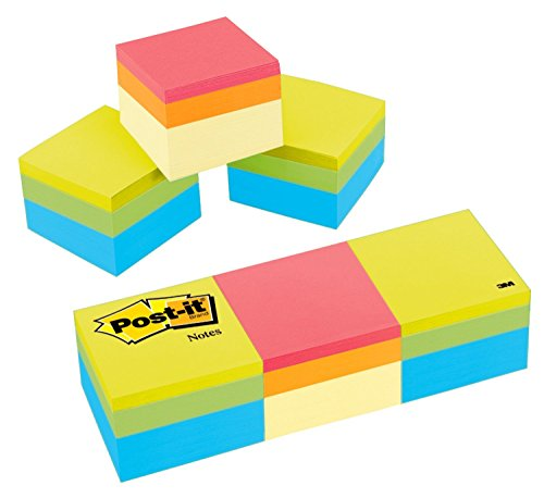 Post-it Notes, 2x2 in, 3 Cubes, America's #1 Favorite Sticky Notes, Assorted Colors, Recyclable (2051-3PK)