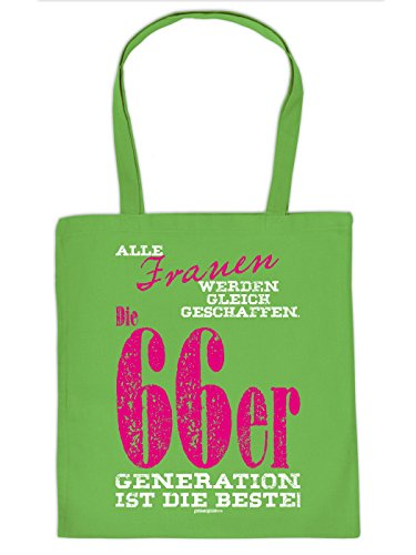 Stofftasche hellgrün - Alle Frauen gleich geschaffen - praktische umweltfreundliche Baumwolltasche Geschenk 1966 Geborene Geburtstagskinder mit Humor