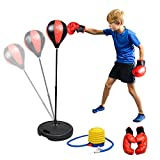 ABREE Kids Punching Bag Mini Freestanding Boxing Bag Set With Gloves Inflatable Ball Youth Fitness Exercise Toy.