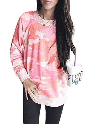 Mujer Pullover Primavera Camuflaje Otoño Hipster Fashion Tops Festivo Manga Larga Camisetas Elegante Cuello Redondo Outdoor Sudadera Camisas Cómodo (Color : Pink, One Size : M)